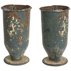 Pair of Footed Metal Urns with Beautiful Patina