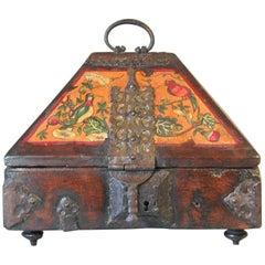 "18th Century Hand-Painted & Iron Mounted Hardwood Jewelry Casket ""Nettur Petti"""
