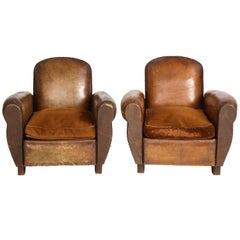 Pair of Vintage Brown Leather Club Chairs with Contrast Velvet Cushion