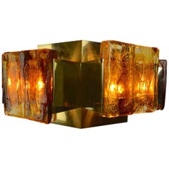 Six-Panel Brutalist Brass and Resin Chandelier