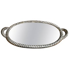 Italian Tray in Silver Leaf with Mirrored Glass Top, 1940s