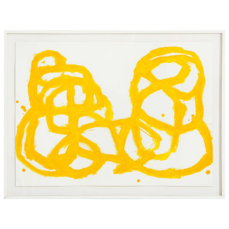 Framed Tim Forcum Ink on Paper Yellow Abstract