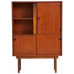 French Midcentury Cabinet with Sliding Door and Unique Hardware Details