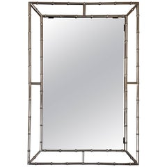 1970s Chromed Faux Bamboo Mirror, France