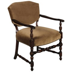 1920s Side Chair with Carved Walnut Arms