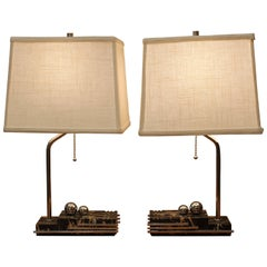 Pair of Art Deco Streamlined Lamps