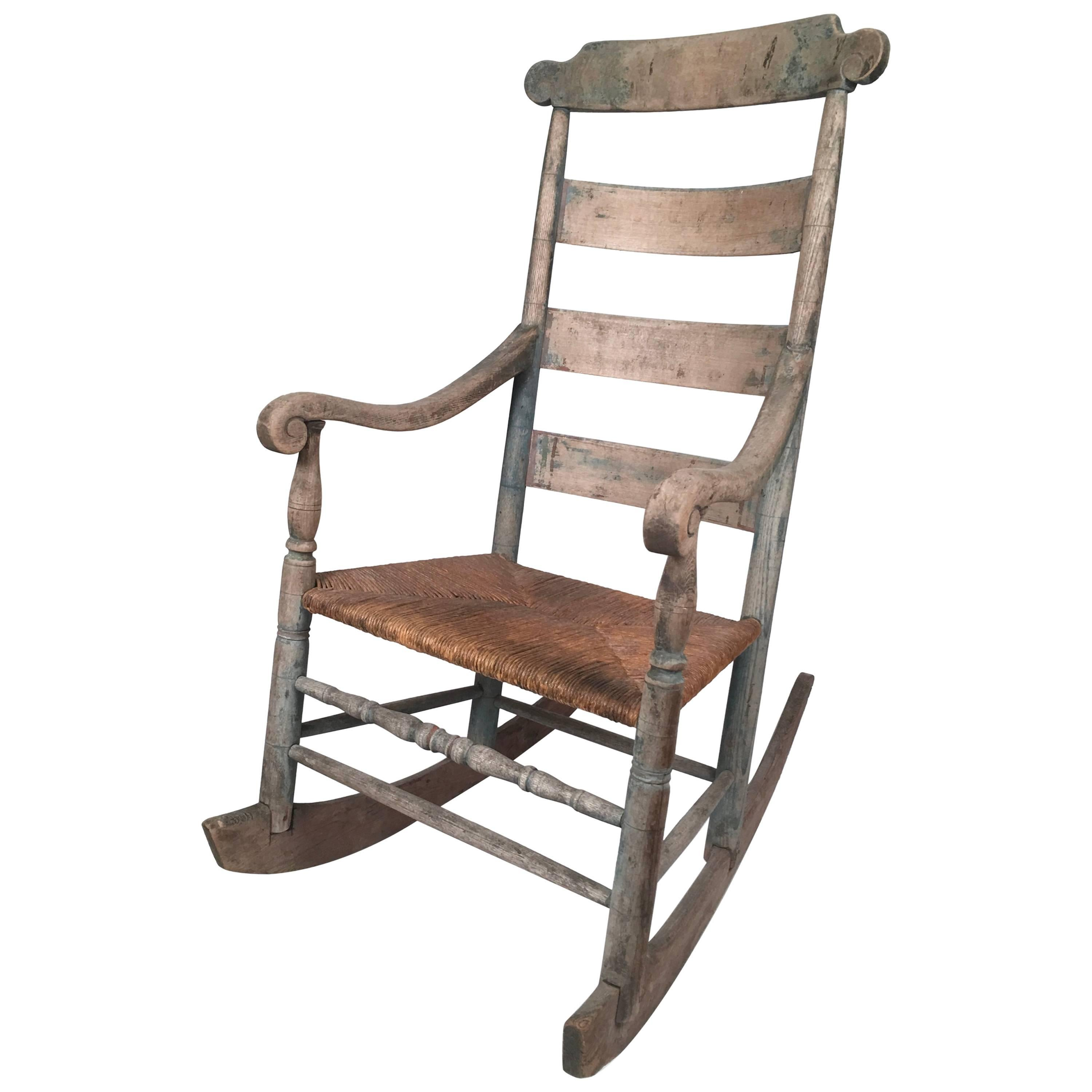 19th Century Country Rocking Chair With Old Blue Painted Surface For Sale