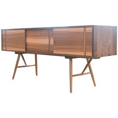 Pelican Cabinet, Modern Walnut Sideboard with Sliding Doors and Turned Legs