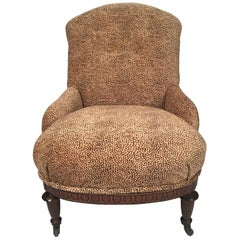 Neoclassical 19th Century Slipper Chair with Leopard Velvet Upholstery