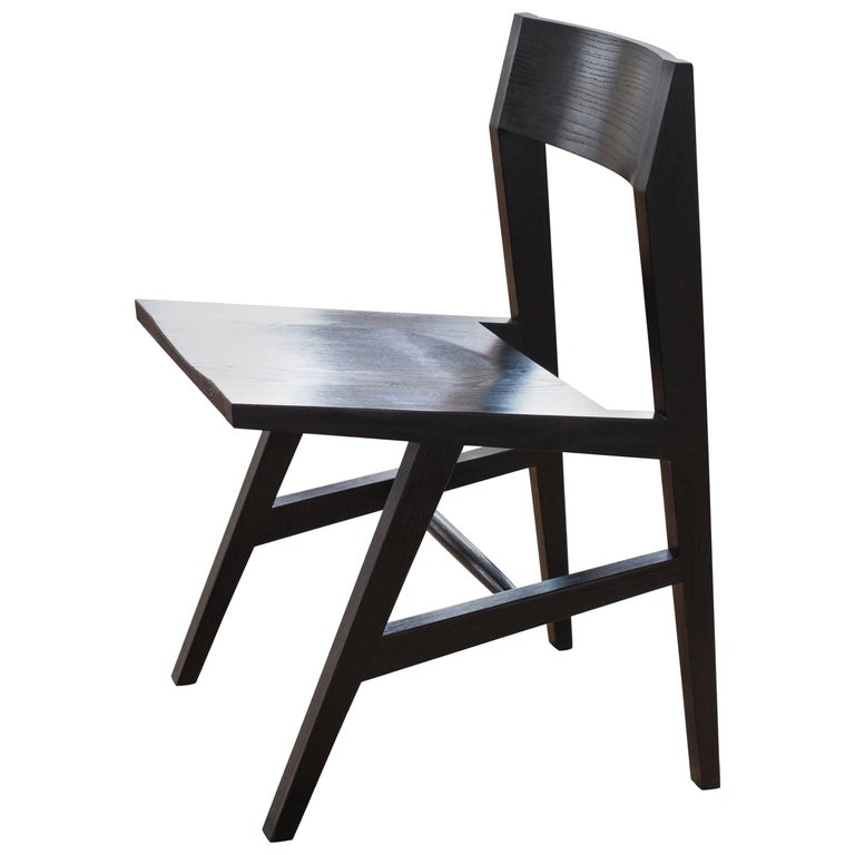 Phloem Studio Jess Side Chair, Modern Ebonized Oak Solid Wood Dining Chair For Sale
