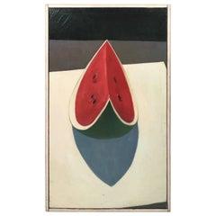Modernist Still Life Watermelon Painting, circa 1970s