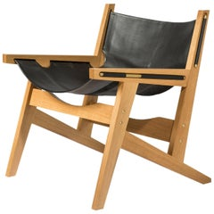 Peninsula Lounge Chair, White Oak and Leather Sling Chair with Brass Details