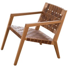 Phloem Studio Nadine Lounge Chair, Modern White Oak and Leather Strap Lounge
