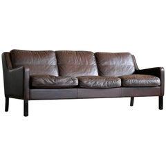 Danish Børge Mogensen Style Sofa in Dark Mocha Colored Leather by Georg Thams