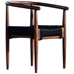Phloem Studio Captains Chair, Modern Walnut and Rope Woven Seat Armchair
