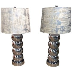 Pair of Stacked Chrome Table Lamps by George Kovacs
