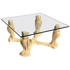 Unique Mid-Century Modern Square ''Curved Owls'' Cocktail Table or Coffee Table