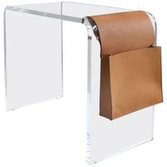Custom Lucite Waterfall Side Table with Leather Magazine Pocket