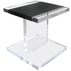 Custom Lucite Side Table with Removable Black Acrylic Sleeve
