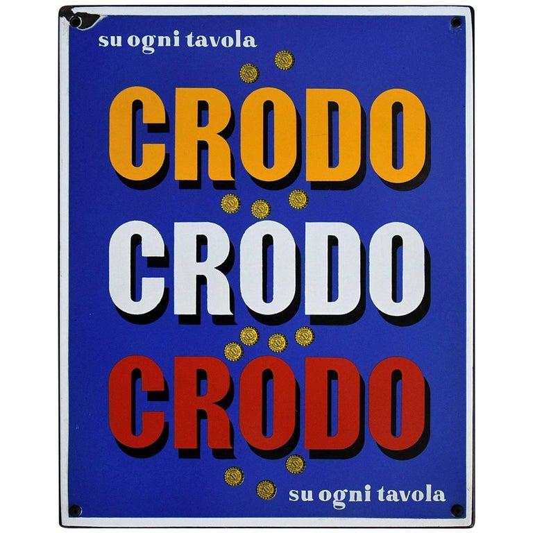1960 Italian Enamel Crodo Publicity Sign For Sale