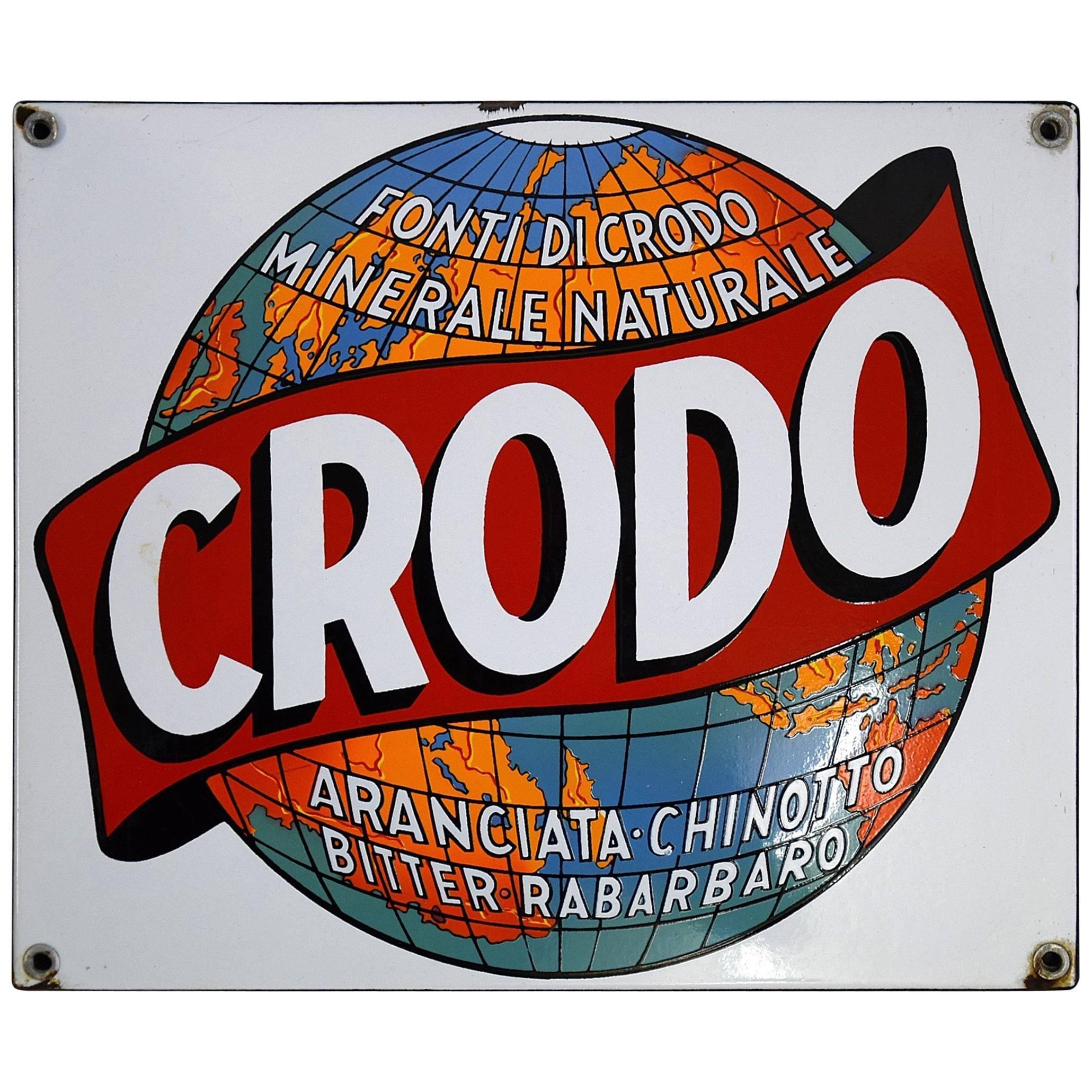 Italian Enamel 1960 Crodo Publicity Sign