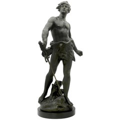 Louis Moreau Signed Statue of Young Soldier with Sword, Spelter, Marble, 1900s