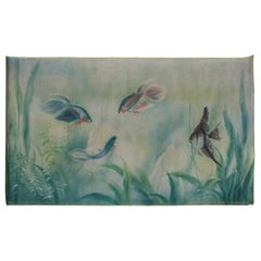 Marine Hand Painting with Fishes for a Beach House or a Bath