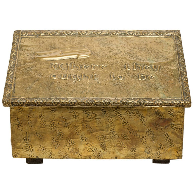 Old Brass Case for Storing Slippers