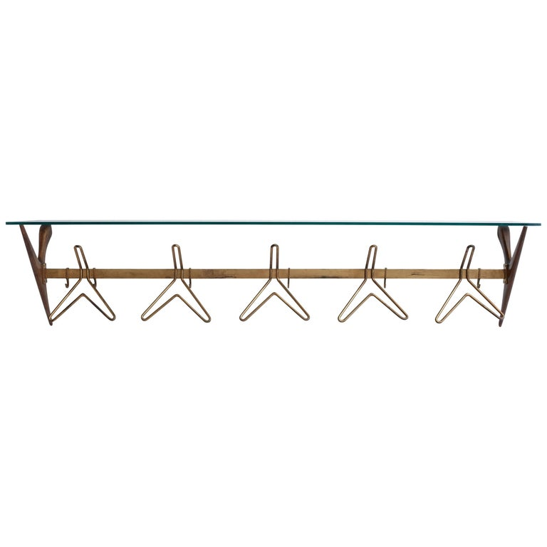 1950s Italian Brass Wall Coat Rack, Often Attributed to Ico Parisi