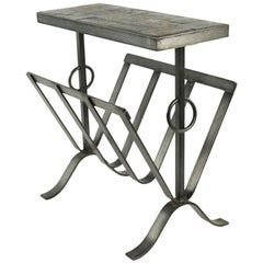 Side Table and Magazine Rack in Wrought Iron