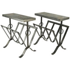 Pair of Side Table and Magazine Rack in Wrought Iron