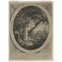 Romantic Steel Engraving from the 19th Century L'arrive Du Courrier