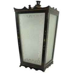 Painted Wooden Lantern with Etched Glass, circa 1940