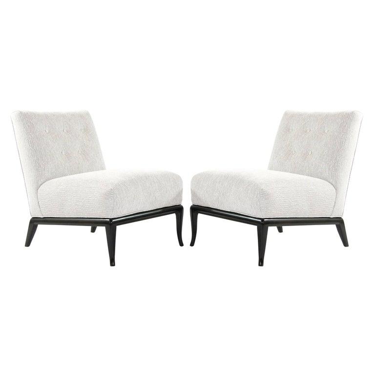 Slipper Chairs in Chenille by T.H. Robsjohn-Gibbings