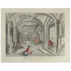 "Lithograph, Engraving Colored by Hand, Entitled ""Prison de St. Pierre"""