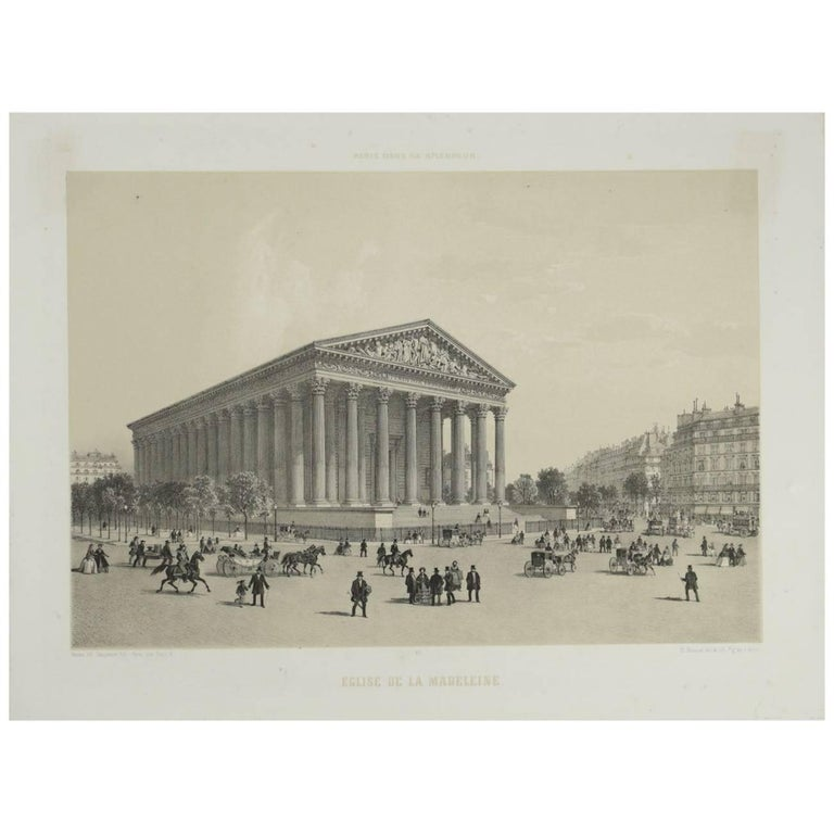 Lithograph Engraving 'Paris in her Splendor' Church of the Madeleine