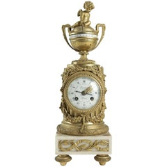 Clock in Gold Gilt Bronze, 19th Century Made by Deniere, Paris