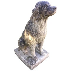 Vintage English Cast Stone Golden Retriever Statue