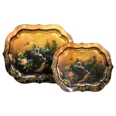 Fine Pair of Graduated 19th Century Papier Mâché Trays, England, circa 1850