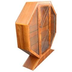 Art Deco 1930s Walnut Hexagonal Display Cabinet or Vitrine
