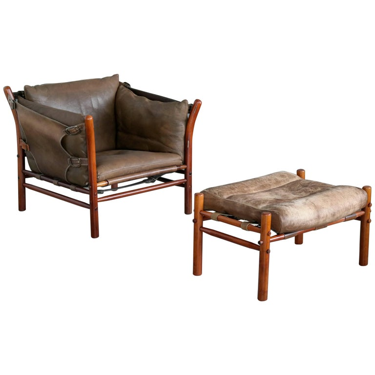 Arne Norell Safari Chair Model Ilona In Brown Leather And Beech At 1stdibs