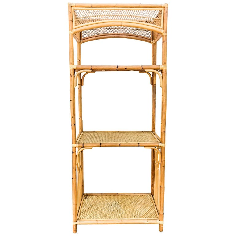 1960s Bamboo and Woven Rattan Three-Tier Etagere