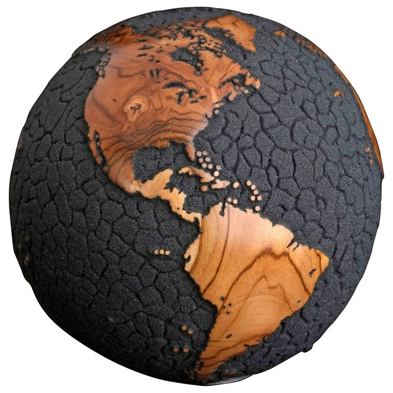 Contemporary Teak Root Globe with Volcanic Sand and Cracked Ocean Finish, 20cm For Sale