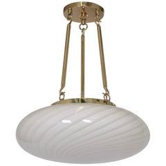 Large Midcentury Venini Glass Pendant with White Swirl