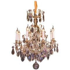 Louis XV Style, French Mid-20th Century, Bronze & Crystal Chandelier, circa 1950