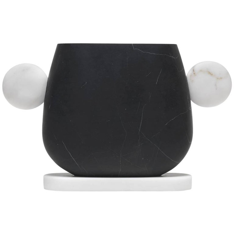 Vase in Nero Marquinia and Bianco Michelangelo Marble by Matteo Cibic, Italy For Sale
