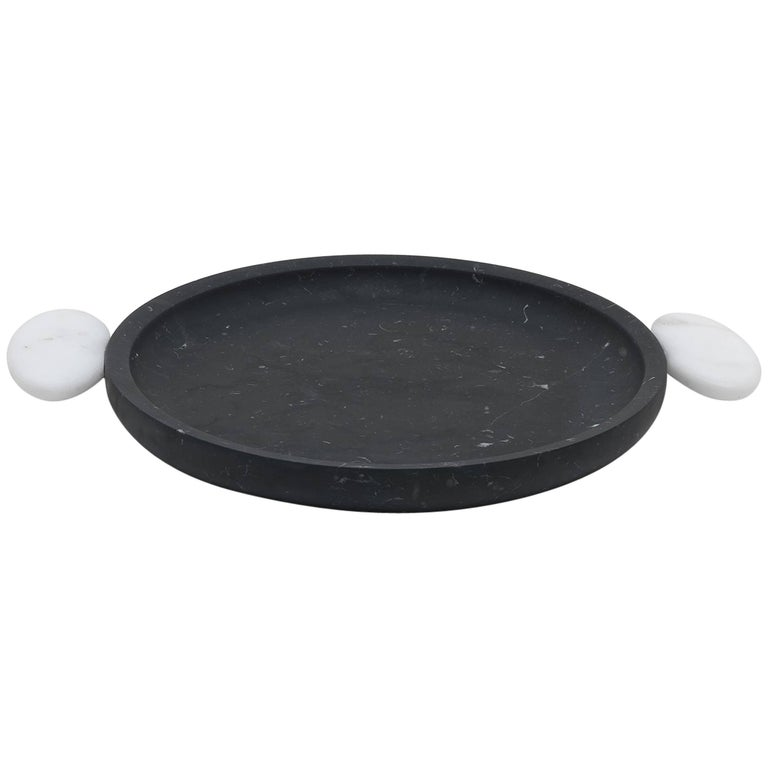 Serving Tray in Nero and White Marble by Matteo Cibic, Italy For Sale