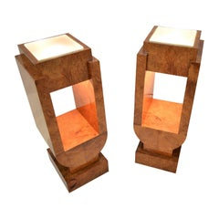 Pair of Illuminated Art Deco Pedestals in Ash Wood, 1930