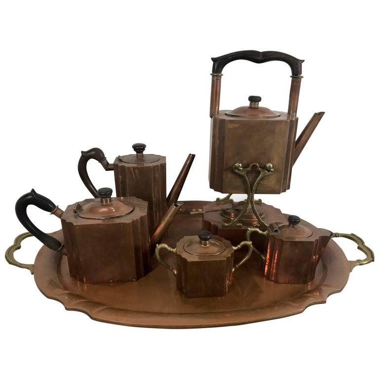 Stylized Six-Piece Art Deco Copper Tea and Coffee Set Creamer, Sugar Tray