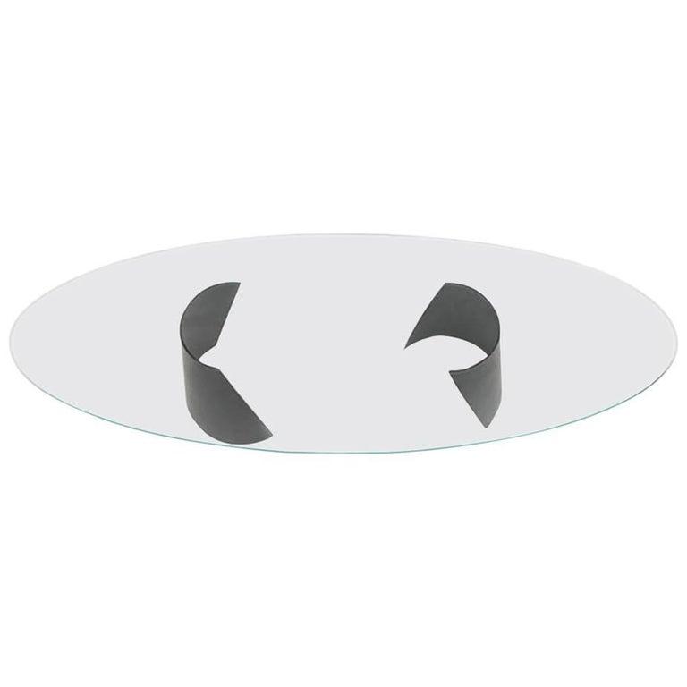 Nada Debs Modern Serra Dining Table, Blackened Steel Base, Glass Top